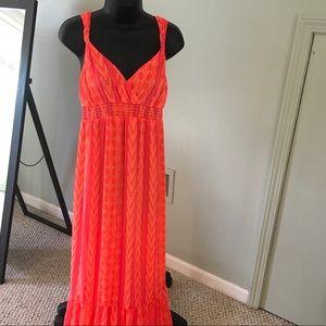 Old Navy Maxi Dress Orange and pink  print